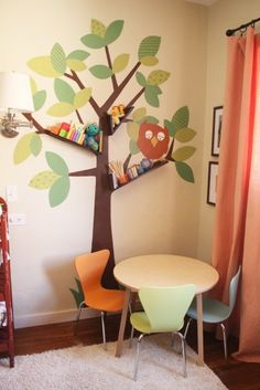 How cool is this?! contemporary kids Floating Booshelves & Tree Wall Art