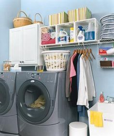 To get this Fresh + Clean look, use YOLO Colorhouse WATER .03 laundry room storage, laundry tips, organizing tips, milk crates, laundry area, laundry rooms, laundry room organization, washing machines, laundri room