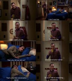 The Big Bang Theory conversation starters, big bang, bangtheori, bigbang, sheldon, funni, bang theori, bangs, tea