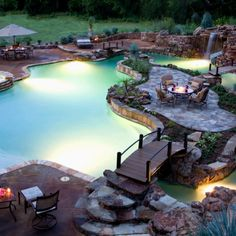 dream backyard, dreams, dream pools, pool design, the bridge