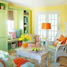 Bright but not blinding room. Cheerful rather than gaudy. I like very much the citrus theme.