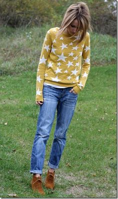 mustard sweater, boyfriend jeans, ankle boots
