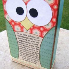 """Scripture Owl**I made these for our """"it's great to be 8"""" program in Primary.  The kids loved them***"""