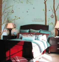 Tree Vinyl Wall Decals wall sticker kids wall decal nursery vinyl decals-Forest with birdcage-set of 3. $79.00, via Etsy.