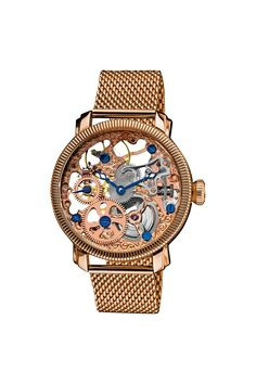 Mechanical Skeleton Mesh Bracelet Watch.