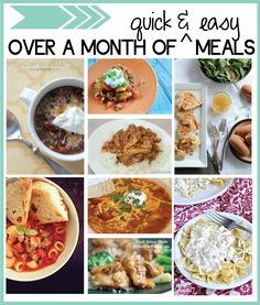 Over a month of must try easy dinner recipes- soups, casseroles, slow cooker + more! Featured on www.thirtyhandmadedays.com