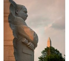 The newest additional to the National Mall, the Martin Luther King, Jr. Memorial sits on the Tidal Basin.
