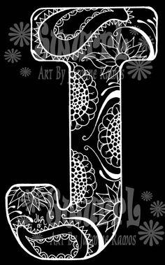 Inverted Monogram Letter J Original Giclee Print of Pen by Swurrl, $12.00