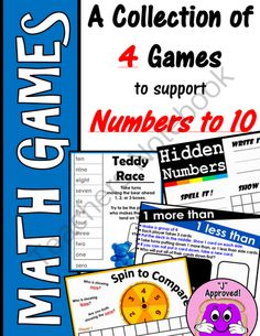 Math Games- Numbers to 10 from PBandJ on TeachersNotebook.com -  (26 pages)  - No matter which specific program your district uses, these games are sure to tie in with the curriculum and meet your objectives in an engaging way!