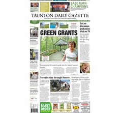 The front page of the Taunton Daily Gazette for Tuesday, July 29, 2014.