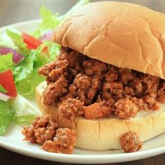 Sloppy Joes II: use <= 7% fat ground beef, use brown sugar substitute (like Ideal Brown No Calorie Sweetener made with Xylitol).  Serve on light hamburger buns.