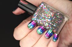 Polish All the Nails: Rainbow Fish Nails (individually placed glitter... wow.)