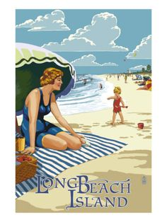 Long Beach Island, New Jersey Vintage style poster.