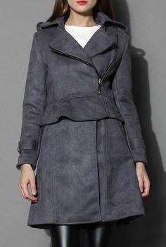 Grey Paneled Peplum Faux Suede Coat