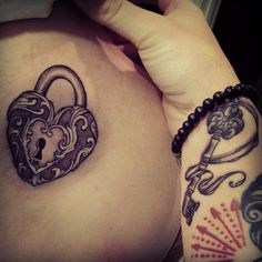 Key to her heart! Heart and key tattoo.