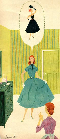 How to be a Girl from Woman's Day 1953. Illustrated by Lorraine Fox.