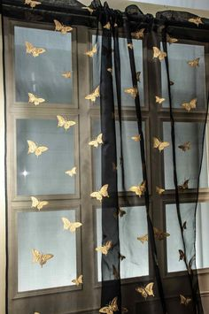 Gold butterfly embroidered on Black silk sheer by Silkndrapes, $156.00