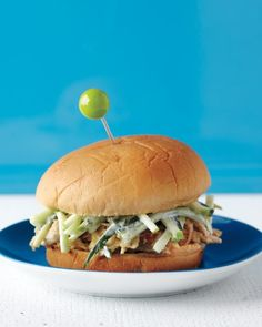 Pulled Chicken with Apple-Cucumber Slaw Recipe