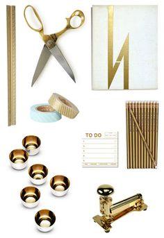 gold toned office supplies #artbosstyle www.twitter.com/luluamin