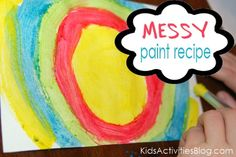 MESSY paint recipe, made from chalk bits and egg yolk
