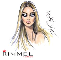@rimmellondonuk beauty sketch for #LFW look 2. Smokey eye and a nude lip.