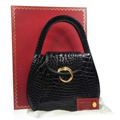 Auth Cartier Panther Hand Bag Black Gold Crocodile Leather Vintage Box B20718 | eBay