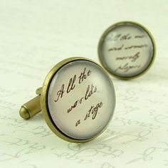 Shakespeare Cufflinks  All The World's A Stage  by JezebelCharms, - It's about the small details
