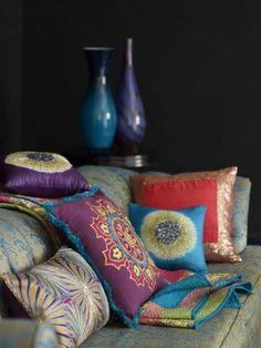 Boho interior, colorful mandala throw pillows -- eclectic bohemian moroccan design