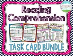 Reading Comprehension Task Card Bundle {Fiction & Nonfiction} 96 Half-Page Comprehension Task Cards! A bundle of four of my top-selling reading comprehension task cards, with 2 sets of fiction cards and 2 sets of informational/nonfiction task cards.$