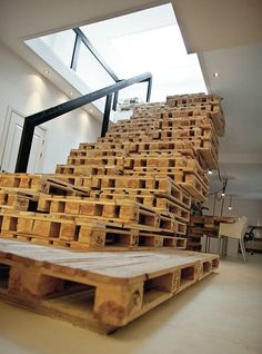 shipping pallets, interior stuff, diyquick pin, pallet offic, wood pallets, pallet stair, painted stairs, crates, recycled pallets