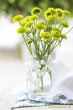 Simple and sweet mason jar with flowers