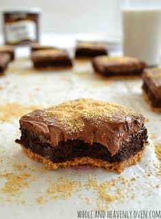 You're going to love these soft, fudgy brownies that have a chewy graham cracker crust and a double-delight of chocolate.   wholeandheavenlyoven.com