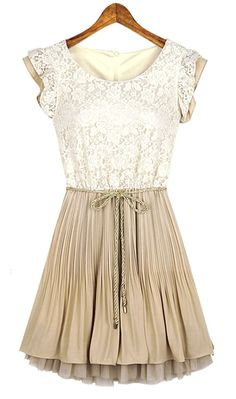 Beige Lace Frill Sleeve Belt Chiffon Pleated Dress