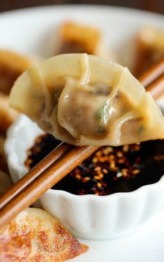 damn delici, cook, asian foods, butter, ground pork, homemad potstick, ginger sauce, dipping sauces, pork potstickers recipe