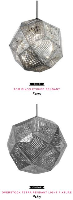 Tom Dixon Etched Pendant $495 vs Overstock Tetra Pendant Light Fixture $185