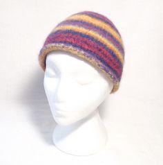 Stripey Felt Beanie Hat  Knitting Pattern by ClaireFairallDesigns