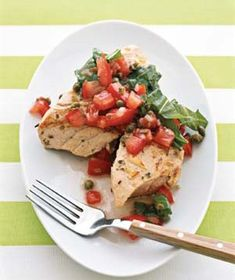 Grilled Tuna With Tomato Salsa makes a speedy dinner. Use 6-ounce tuna steaks and sweeten the dressing with about 10 drops of stevia (instead of honey).
