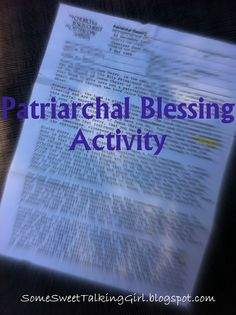 LDS, Young Women, Patriarchal Blessing - Activity
