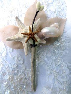 Pink Sea Shell Bouquet Brooch Bouquet Beach Wedding