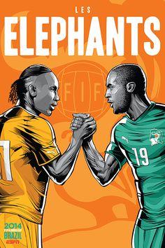 Ivory Coast, Costa d'Avorio, Les Elephants, Didier Drogba & Yaya Toure, FIFA World Cup Brazil 2014