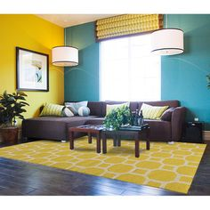 teal and yellow - warm modern living room