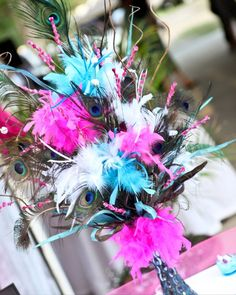 Peacock and Hot Pink Wedding Decor! PICS! :  wedding blue bouquet bracelet bridesmaids ceremony dress feathers flowers hairpiece ivory jewelry peacock reception shoes turquoise white Arrangement