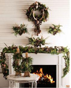 antler Christmas mantle