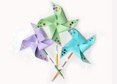Pinwheels are an age old craft that your Grandma will remember. Put together these pretty wind decorations and stick them in your garden.