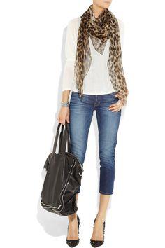 mcqueen leopard & skull print scarf