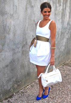 Little White Dress, Zara..love the blue shoes!