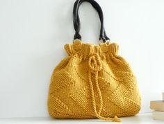 Knit women bag, Mustard Knit Bag, fall autumn fashion Handbag, Shoulder Bag, Leather Strap, christmas gift idea, harvest