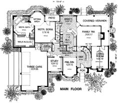 First Floor Plan of Luxury   Tudor   House Plan 98539