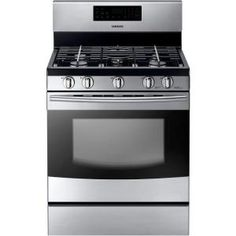 Samsung, 30 in. 5.8 cu. ft. Gas Range with Self-Cleaning Oven in Stainless Steel, NX58F5300SS at The Home Depot - Mobile