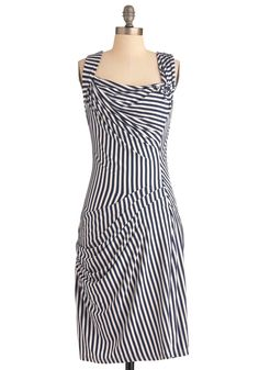 Gathering Together Dress - Long, White, Stripes, Sheath / Shift, Tank top (2 thick straps), Casual, Blue, Pleats, Nautical